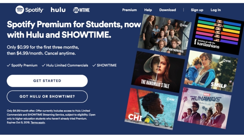 Digital Addicts spotify hulu bundle adds showtime for college students